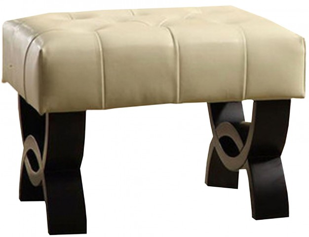 "Central Park 24"" Cream Bonded Leather Tufted Ottoman"