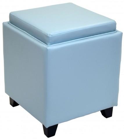 Rainbow Sky Blue Bonded Leather Storage Ottoman with Tray
