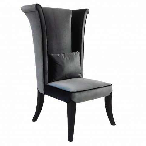Mad Hatter Gray Rich Velvet Dining Chair