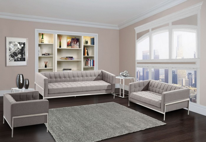 Andre Gray Tweed Living Room Set