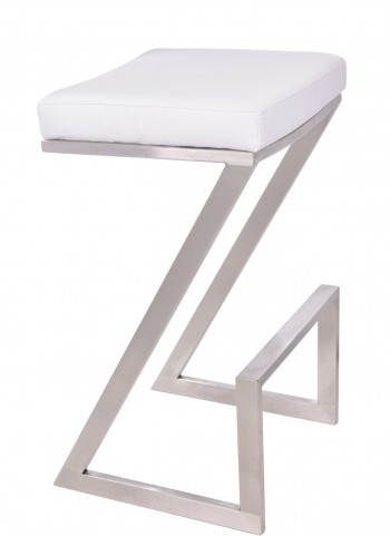"Atlantis 30"" White Backless Barstool"