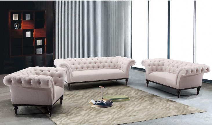 Avery Sand Fabric Living Room Set