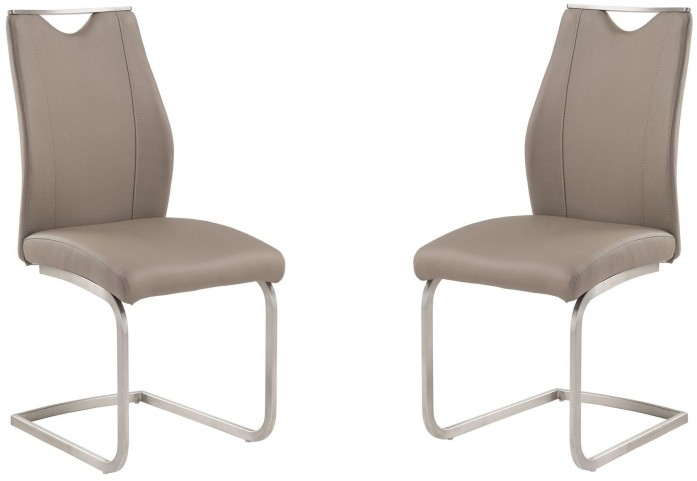 Bravo Coffee and Stainless Steel Side Chair Set of 2