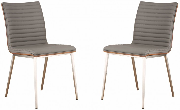 Cafe Brushed Stainless Steel Gray Dining Chair Set of 2
