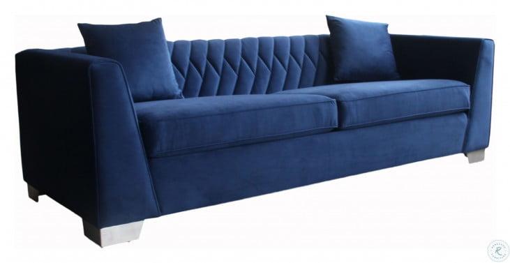 Cambridge Brushed Stainless Steel and Blue Velvet Living Room Set