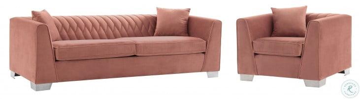 Cambridge Brushed Stainless Steel and Blush Velvet Living Room Set