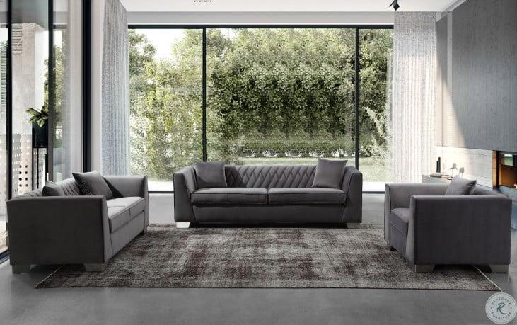 Cambridge Dark Grey Velvet Living Room Set