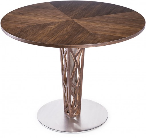 "Crystal 48"" Walnut Veneer Wood Top Round Dining Table"