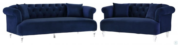 Elegance Blue Velvet Living Room Set
