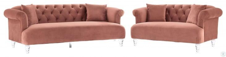 Elegance Blush Velvet Living Room Set