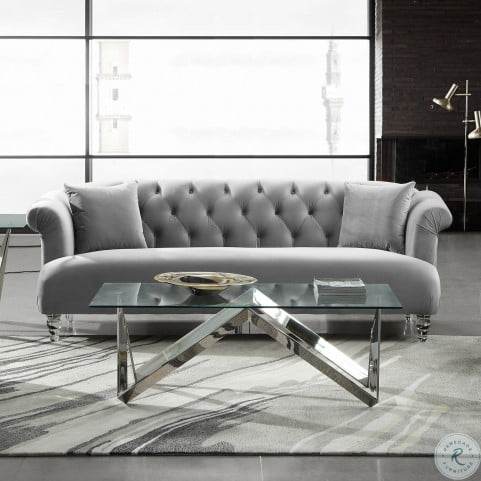 Elegance Grey Velvet Living Room Set