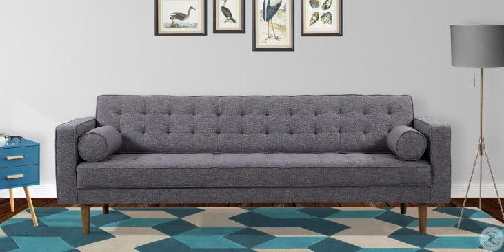 Element Mid-Century Dark Gray Linen Modern Living Room Set