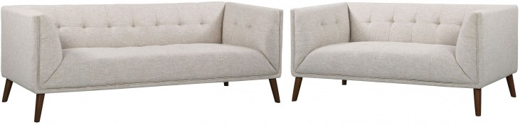 Hudson Mid-Century Beige Linen Button Tufted Living Room Set