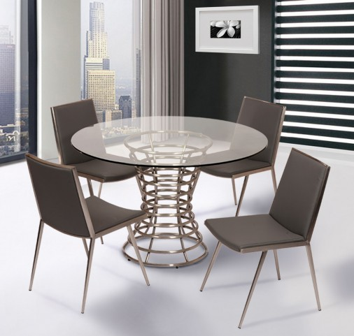 Ibiza Brushed Stainless Steel Dining Room Set