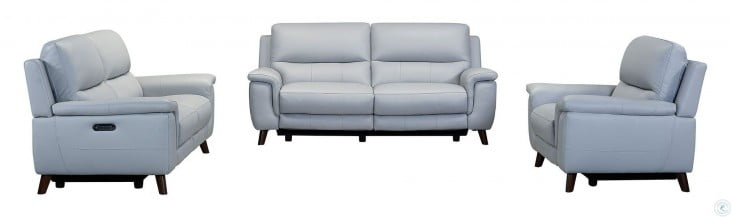 Lizette Dove Grey Genuine Leather Power Reclining Living Room Set