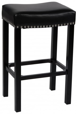 "Tudor 26"" Black Bonded Leather Stool"