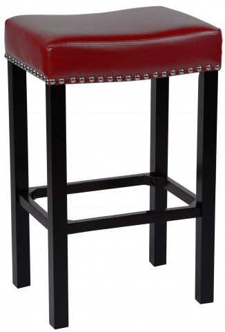 """Tudor 26"""" Red Bonded Leather Stool"""