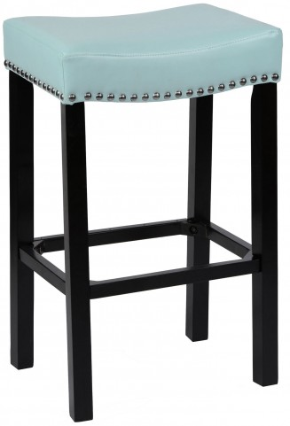 "Tudor 30"" Sky Blue Bonded Leather Stool"