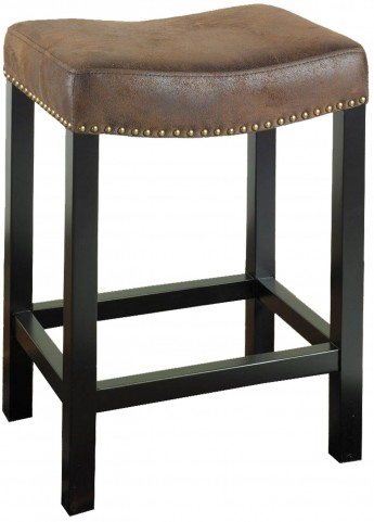 "Tudor 26"" Antique Brown Fabric Stationary Backless Barstool"