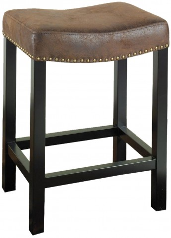 "Tudor 30"" Antique Brown Fabric Stationary Backless Barstool"