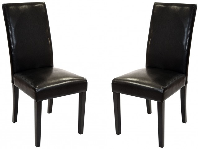 Md-014 Black Bonded Leather Side Chair Set of 2