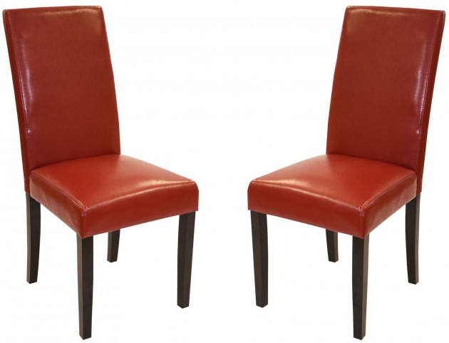 Md-014 Red Bonded Leather Side Chair Set of 2