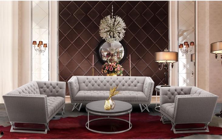 Odyssey Grey Tweed Upholstery Living Room Set