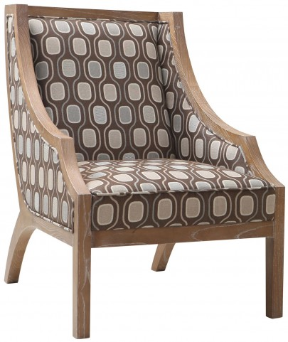 Sahara Multi-Colored Fabric Solid Wood Accent Chair