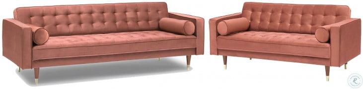 Somerset Blush Velvet Mid Century Modern Living Room Set