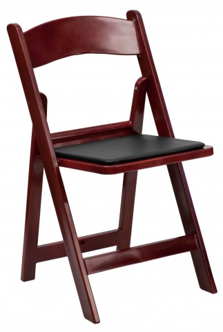 Hercules Series Red Mahogany Resin Vinyl Folding Chair