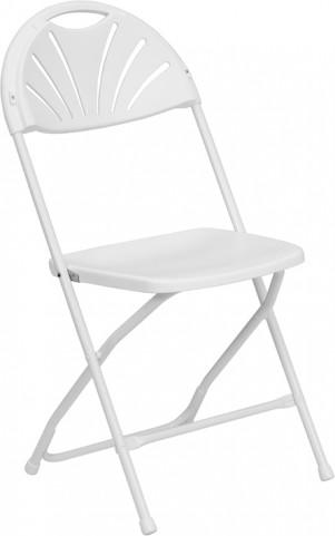 Hercules 1000 lb. Capacity White Plastic Fan Back Folding Chair
