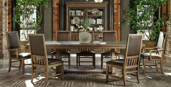 Metalworks Factory Chic Extendable Rectangular Trestle Dining Room Set