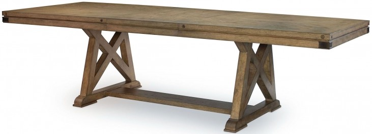 Metalworks Factory Chic Extendable Rectangular Trestle Dining Table