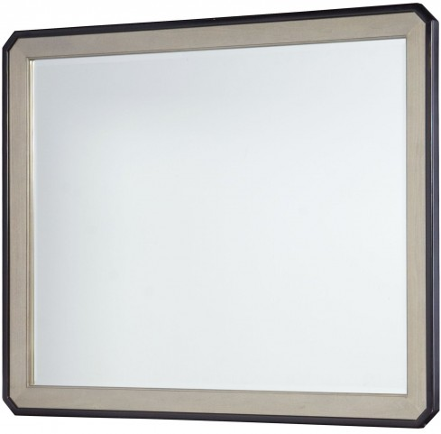 Symphony Platinum & Black Tie Beveled Mirror