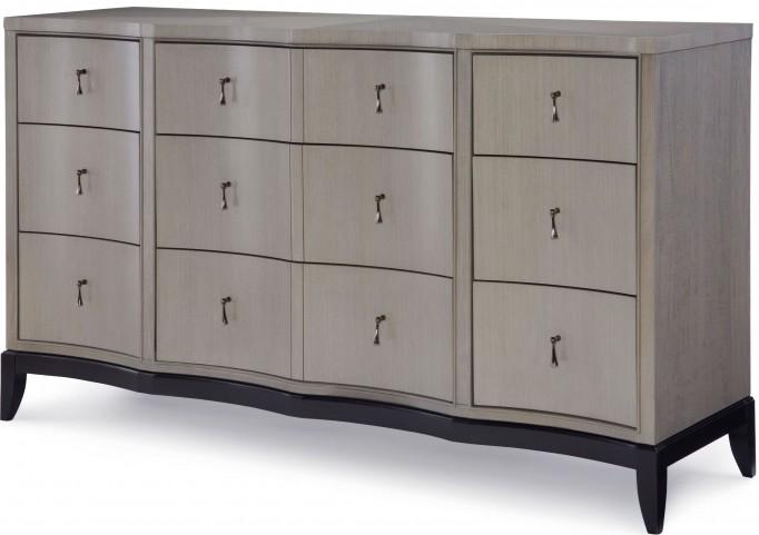 Symphony Platinum & Black Tie 9 Drawers Dresser