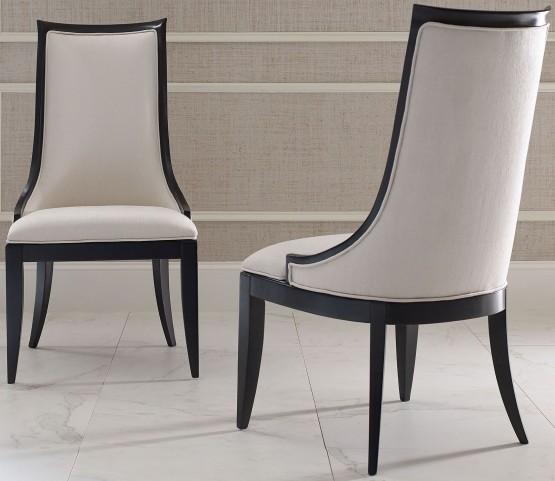 Symphony Platinum & Black Tie Upholstered Back Side Chair Set of 2