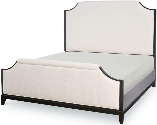 Symphony Platinum & Black Tie Queen Upholstered Panel Bed