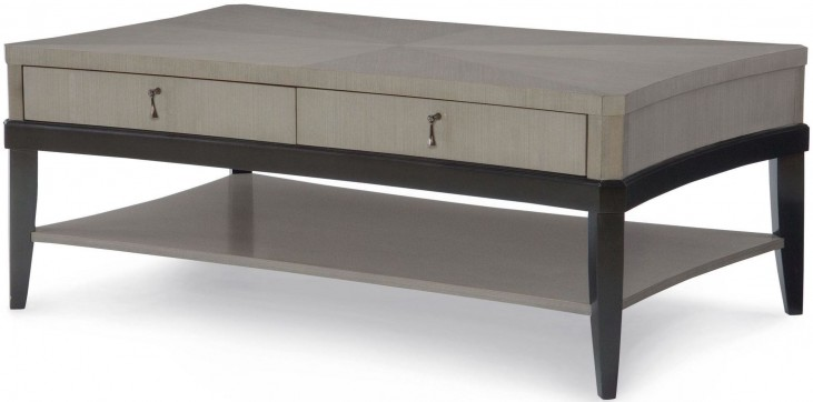 Symphony Platinum & Black Tie 2 Drawers Cocktail Table