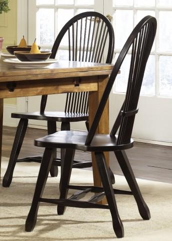 Treasures Black Sheaf Back Side Chair Set of 2