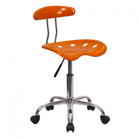 Vibrant Orange and Chrome Computer Tractor Seat Task Chair