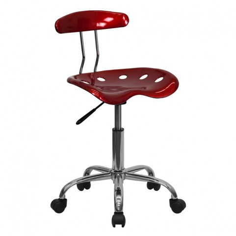Vibrant Wine Red and Chrome Computer Tractor Seat Task Chair
