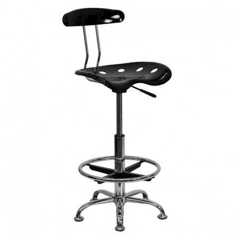 Vibrant Black and Chrome Tractor Seat Drafting Stool