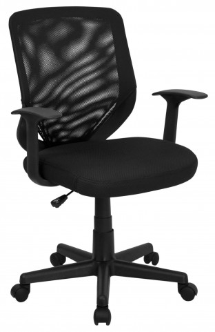 Mid-Back Black Fabric Office Chair