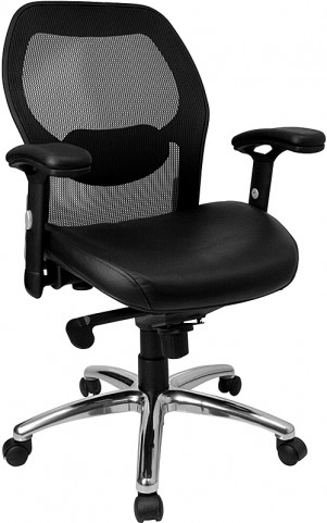 Mid-Back Super Office Chair with Black Italian Seat and Knee Tilt Control