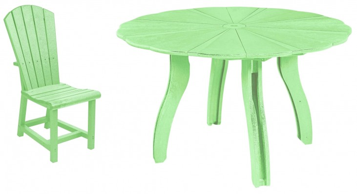 "Generations Lime Green 52"" Scalloped Round Dining Room Set"