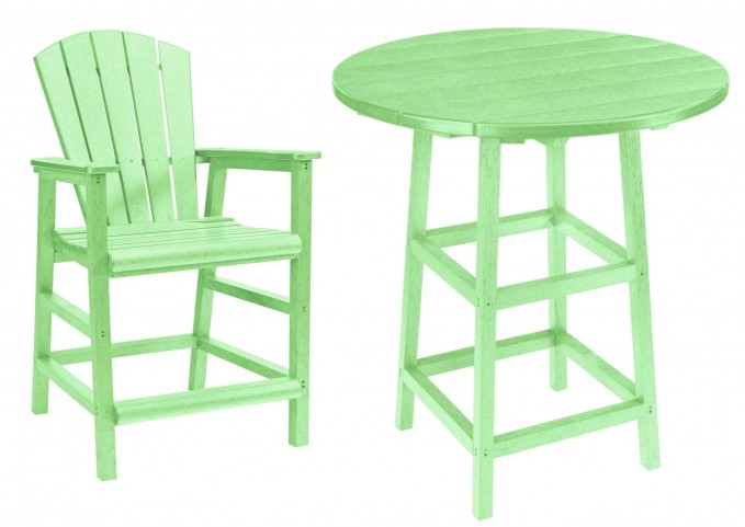 "Generations Lime Green 32"" Round Leg Pub Set"