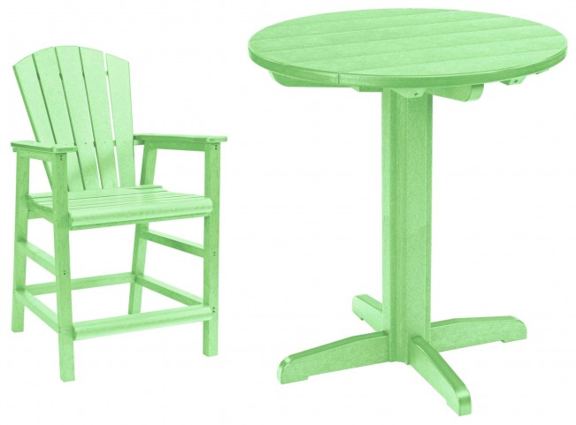 "Generations Lime Green 37"" Round Pedestal Pub Set"