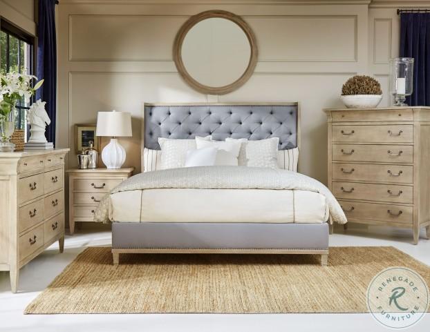 Artiste Weathered Oak Anna Nickel Upholstered Cal King Panel Bed