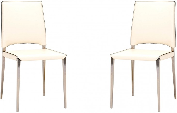 Ritz Cream Bonded Leather Lola Dining Chair Set of 2