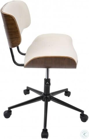 Lombardi Walnut And Cream Adjustable Office Chair